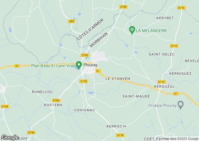 Map for Brittany, Morbihan, Plouray