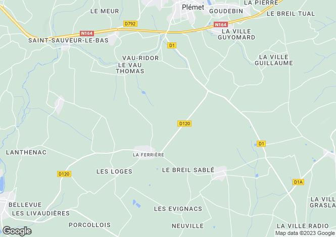 Map for Brittany, Côtes-d'Armor, La Ferrière