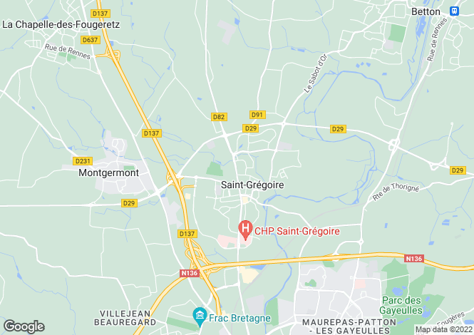 Map for st-gregoire, Ille-et-Vilaine, France