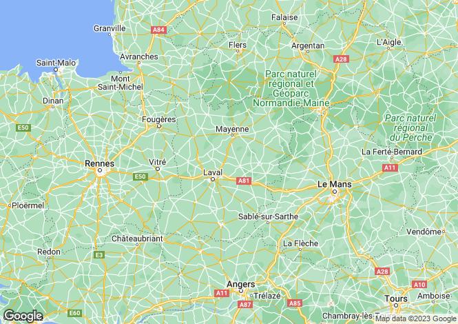 Map for Pays de la Loire, Mayenne