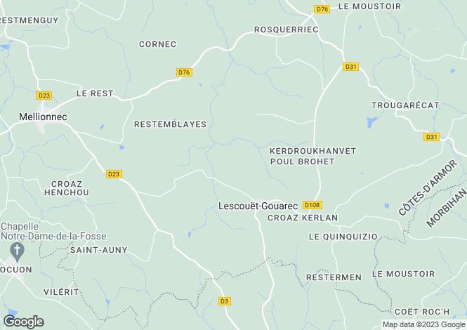 Map for lescouet-gouarec, Côtes-d'Armor, France