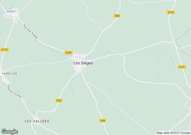 Map for Burgundy, Yonne, Villeneuve-l`Archevêque