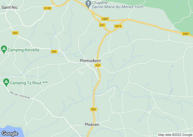 Map for plomodiern, Finistère, France