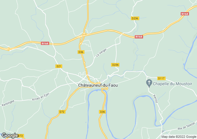 Map for chateauneuf-du-faou, Finistère, France