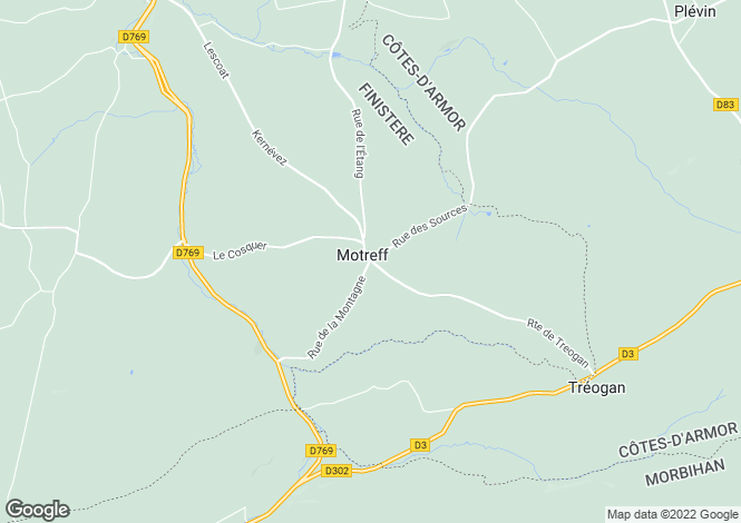 Map for Brittany, Finistère, Motreff