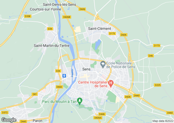 Map for sens, Yonne, France