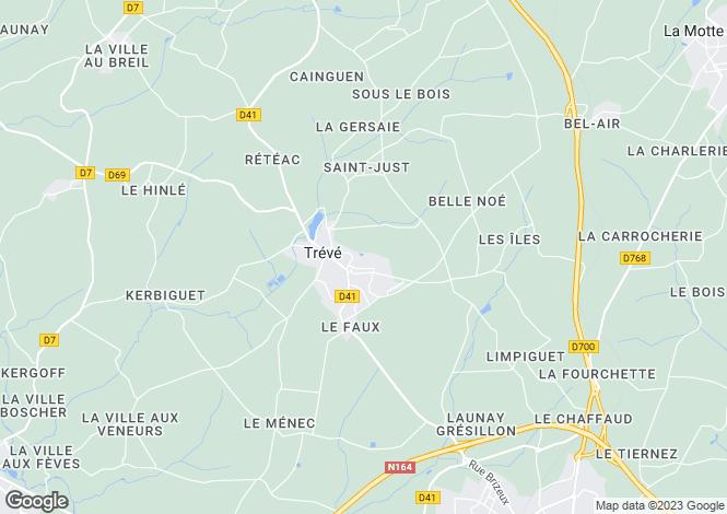 Map for Brittany, Côtes-d'Armor, Trévé