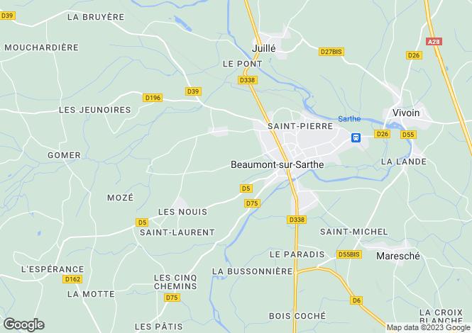 Map for Beaumont-sur-Sarthe, Sarthe, Pays de la Loire