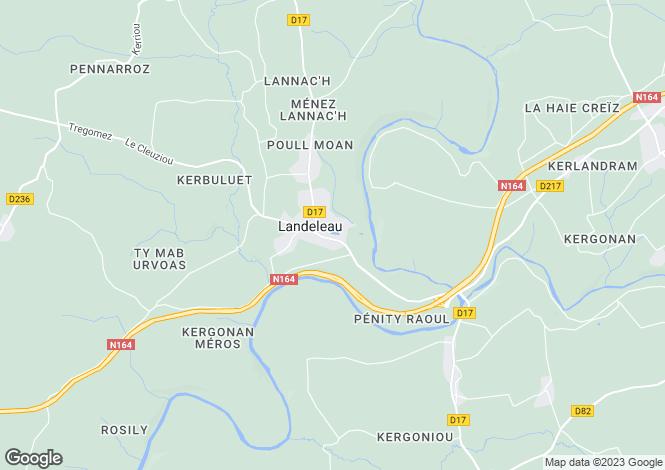 Map for Landeleau, Finistère, Brittany