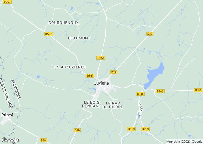 Map for Pays de la Loire, Mayenne, Juvigné