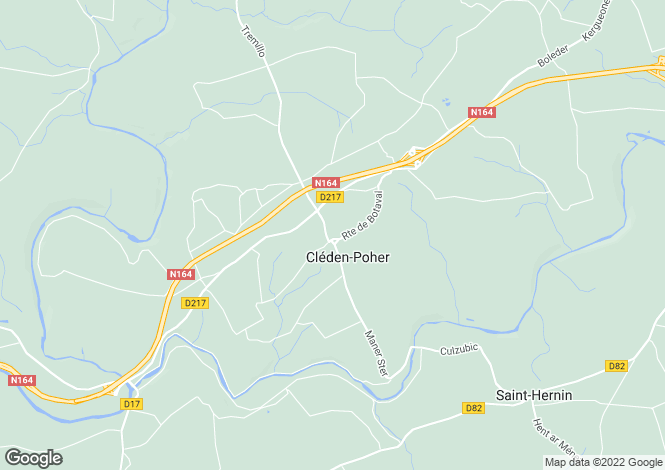 Map for Cléden-Poher, Finistère, Brittany