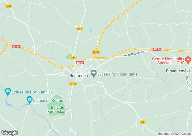 Map for rostrenen, Côtes-d'Armor, France