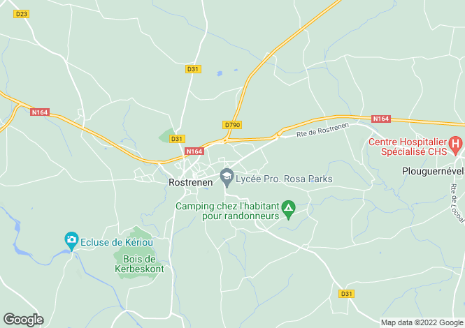 Map for Rostrenen, Côtes-d`Armor, Brittany