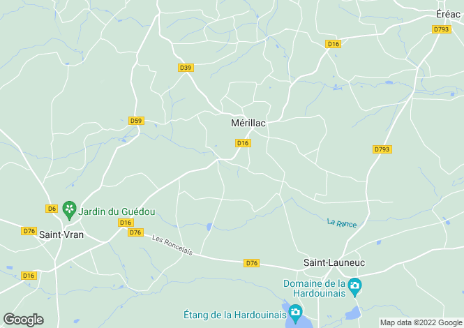 Map for merillac, Côtes-d'Armor, France