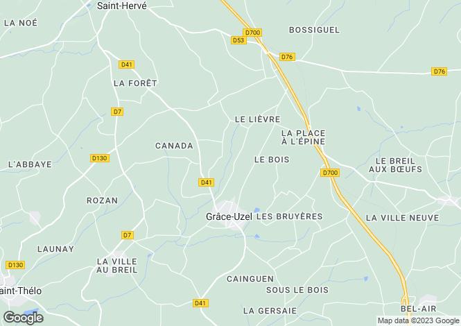 Map for Brittany, Côtes-d'Armor, Grâce-Uzel