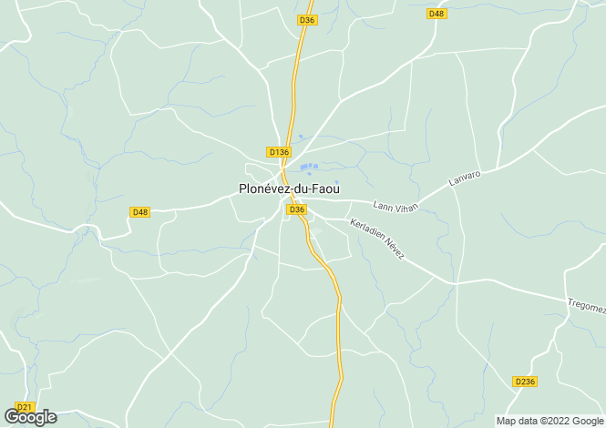 Map for plonevez-du-faou, Finistère, France