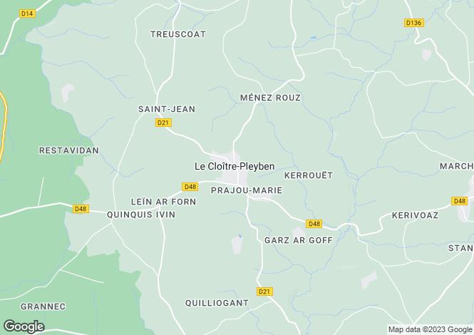 Map for Le Cloître-Pleyben, Finistère, Brittany
