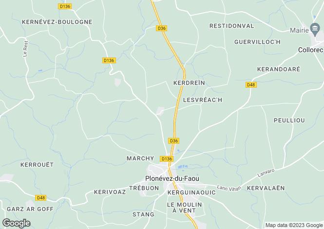 Map for Brittany, Finistère, Plonévez-du-Faou