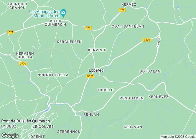 Map for Brittany, Finistère, Lopérec