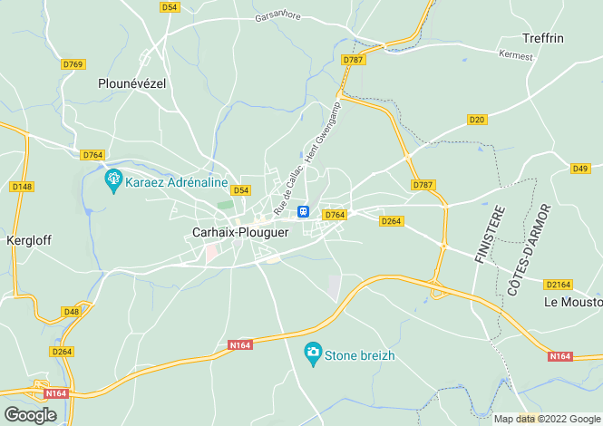 Map for Carhaix-Plouguer, Finistère, Brittany