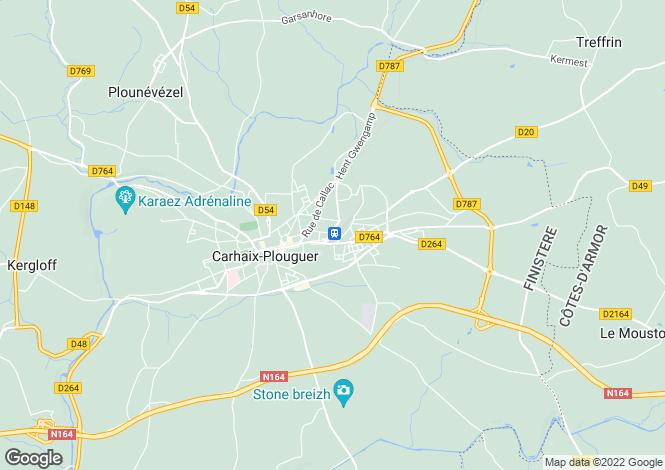 Map for Brittany, Finistère, Carhaix-Plouguer