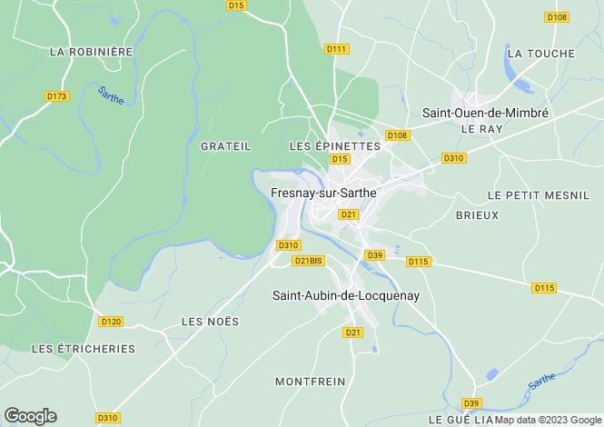Map for Pays de la Loire, Sarthe, Fresnay-sur-Sarthe