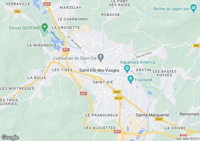 Map for St-Dié-des-Vosges, Vosges, Lorraine