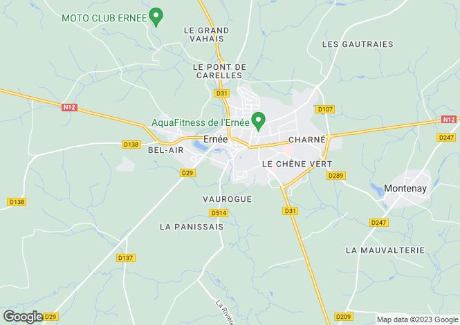 Map for Ernée, Mayenne, Pays de la Loire