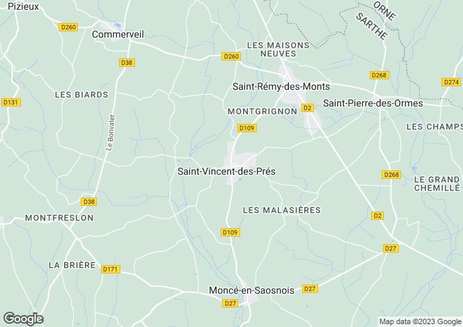 Map for Pays de la Loire, Sarthe, St-Vincent-des-Prés