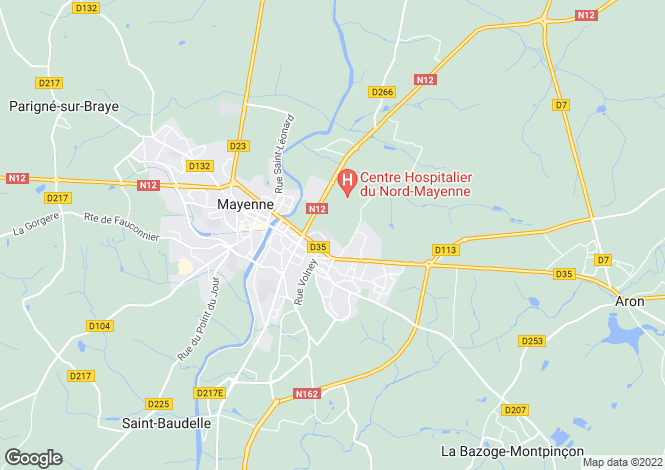 Map for Mayenne ,Pays de la Loire ,France