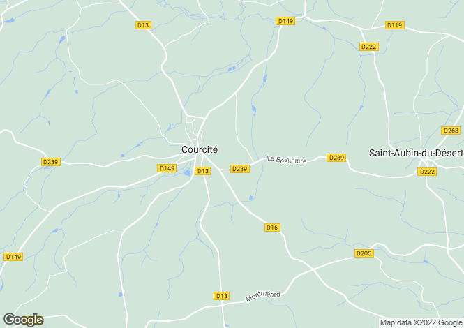 Map for courcite, Mayenne, France
