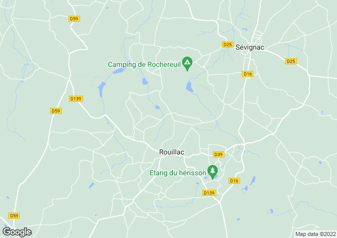 Map for Rouillac, Bretagne, 22250, France