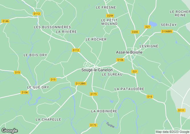 Map for Pays de la Loire, Sarthe, Sougé-le-Ganelon