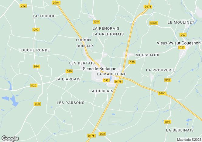 Map for Brittany, Ille-et-Vilaine, Sens-de-Bretagne