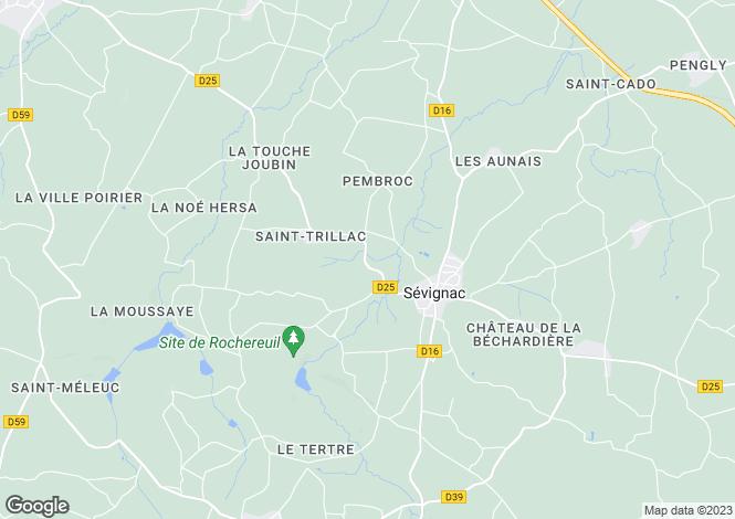Map for Brittany, Côtes-d'Armor, Sévignac