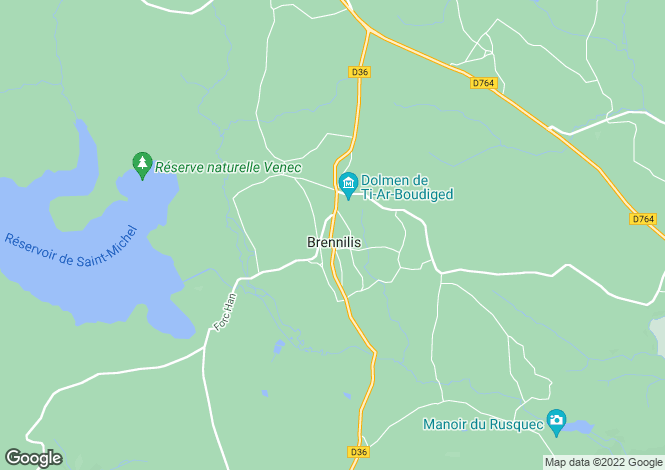 Map for Brennilis, Finistère, Brittany