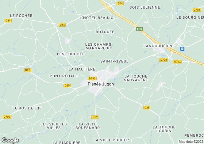 Map for Brittany, Côtes-d'Armor, Plénée-Jugon