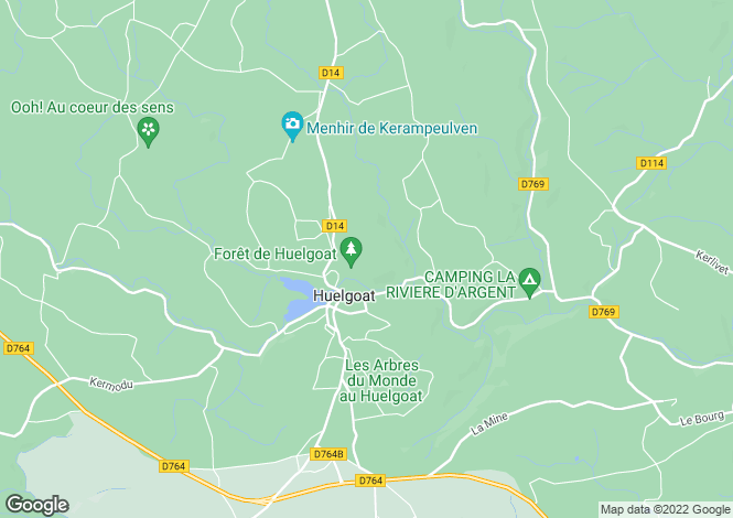 Map for Brittany, Finistère, Huelgoat