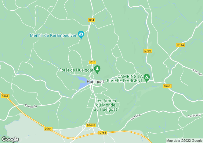 Map for Huelgoat, Finistère, Brittany