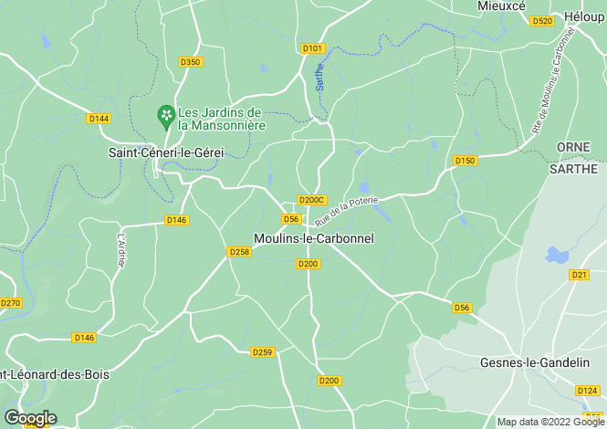 Map for moulins-le-carbonnel, Sarthe, France