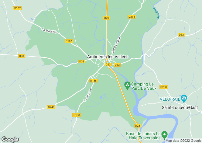 Map for ambrieres-les-vallees, Mayenne, France