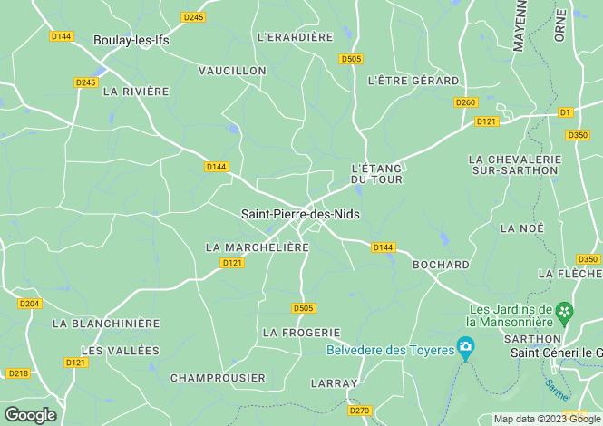 Map for st-pierre-des-nids, Mayenne, France