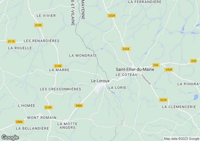Map for Le Loroux, Ille-et-Vilaine, Brittany