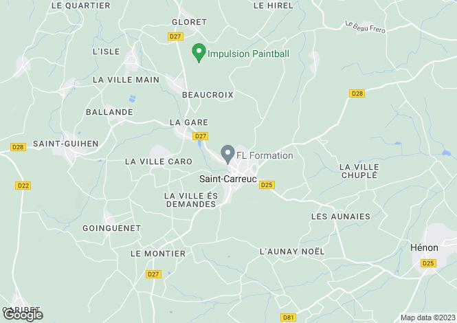 Map for St-Carreuc, Côtes-d`Armor, Brittany