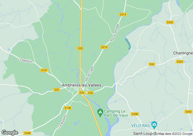 Map for Ambrieres-les-Vallees, Mayenne