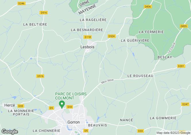Map for Pays de la Loire, Mayenne, Lesbois
