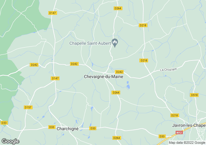 Map for Pays de la Loire, Mayenne, Chevaigne du Maine