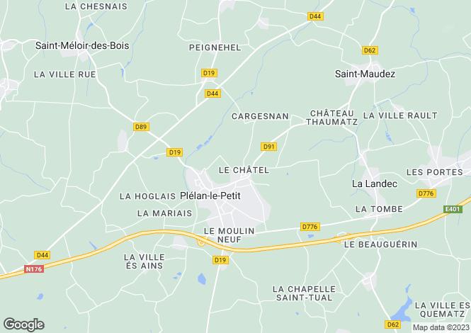 Map for Plelan Le Petit, Bretagne, 22980, France