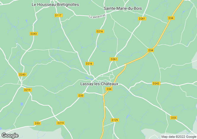 Map for lassay-les-chateaux, Mayenne, France