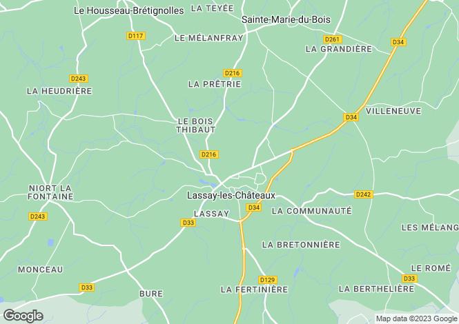 Map for Lassay-les-Chateaux, Mayenne, 53110, France